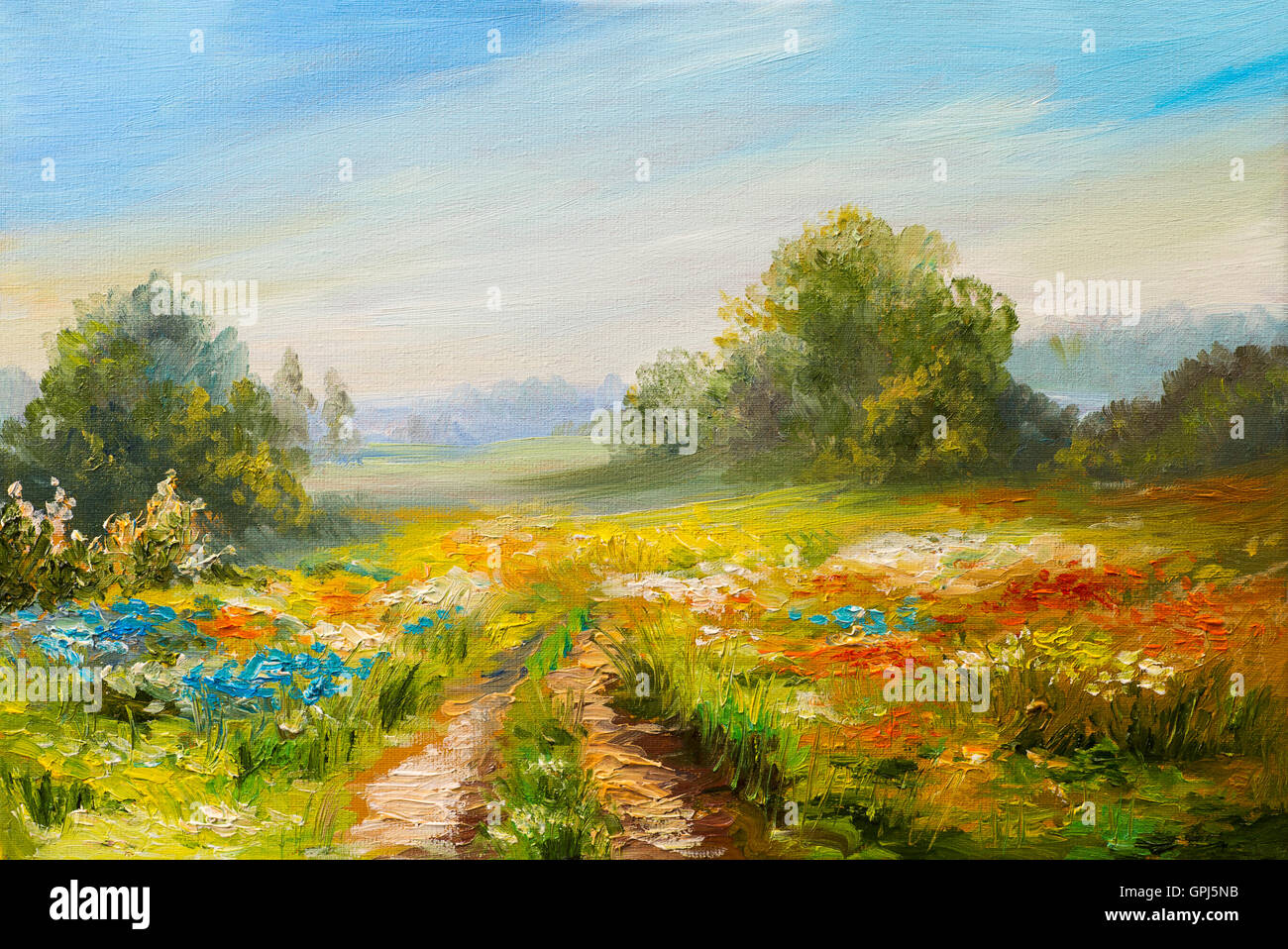 oil painting landscape, colorful field of flowers ...