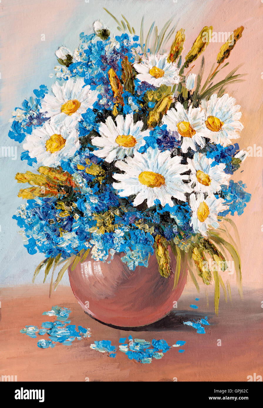 Oil Painting - still life, a bouquet of flowers, vase, agriculture ...
