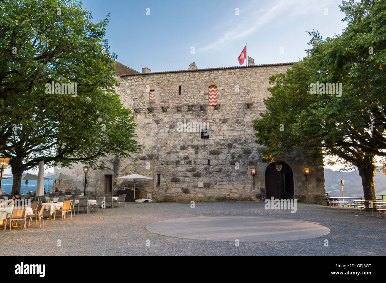 Habsburg castle, the originating seat of the House of Habsburg. View from the courtyard. Aargau, Switzerland. - Stock Image