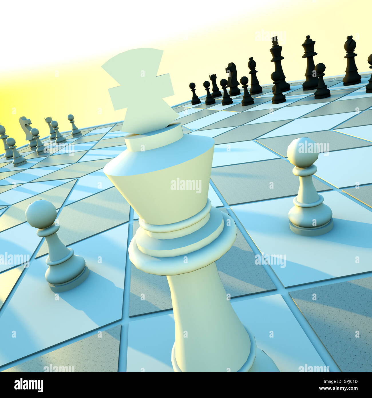 Three-handed chess - Stock Image