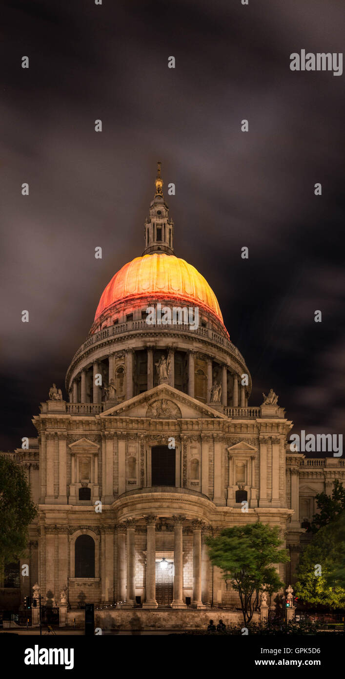 London, UK, 02 September 2016, projection of Fires of  London by artist Martin Firrell celebrating the ability of - Stock Image