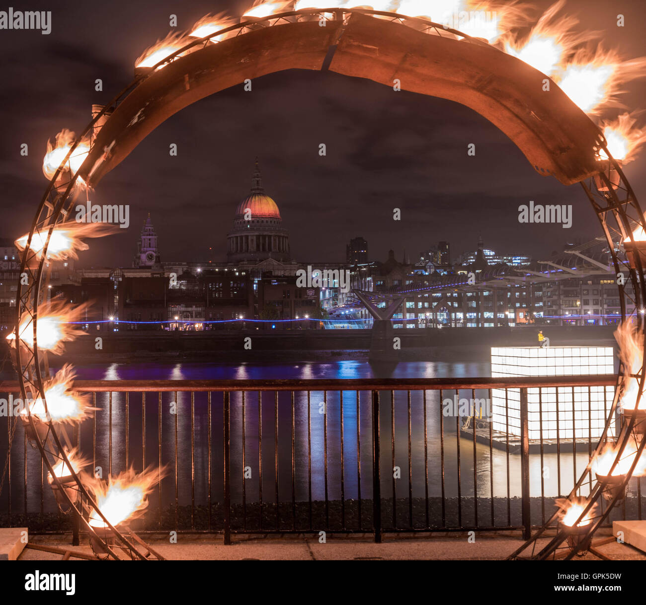 London, UK, 02 September 2016, view of projection of 'Fires of  London' by artist Martin Firrell celebrating the - Stock Image