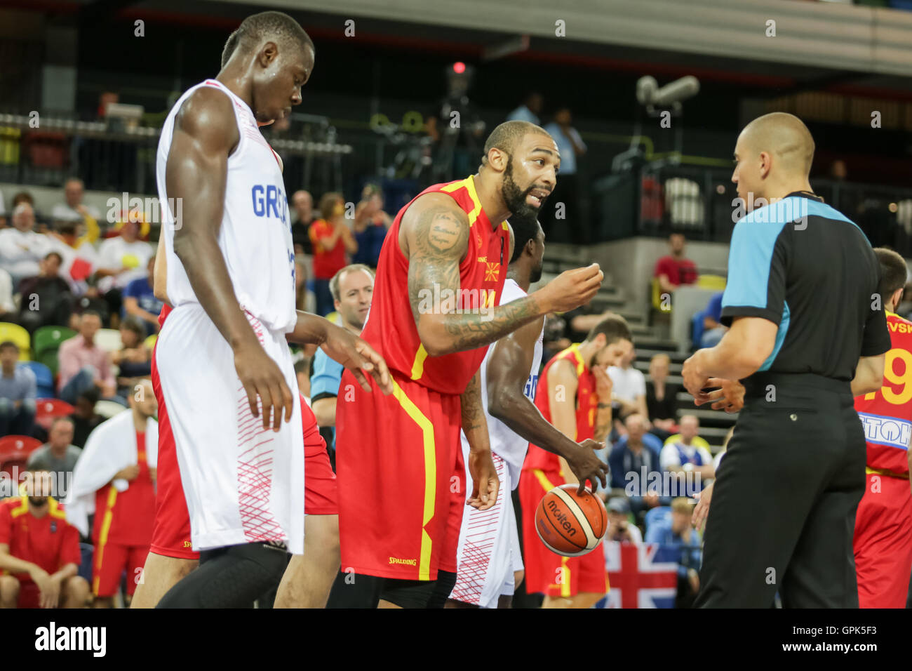 London, UK. 3rd. September, 2016. Macedonia player no 24, Travis in discussion with the referee. Team GB play Macedonia Stock Photo