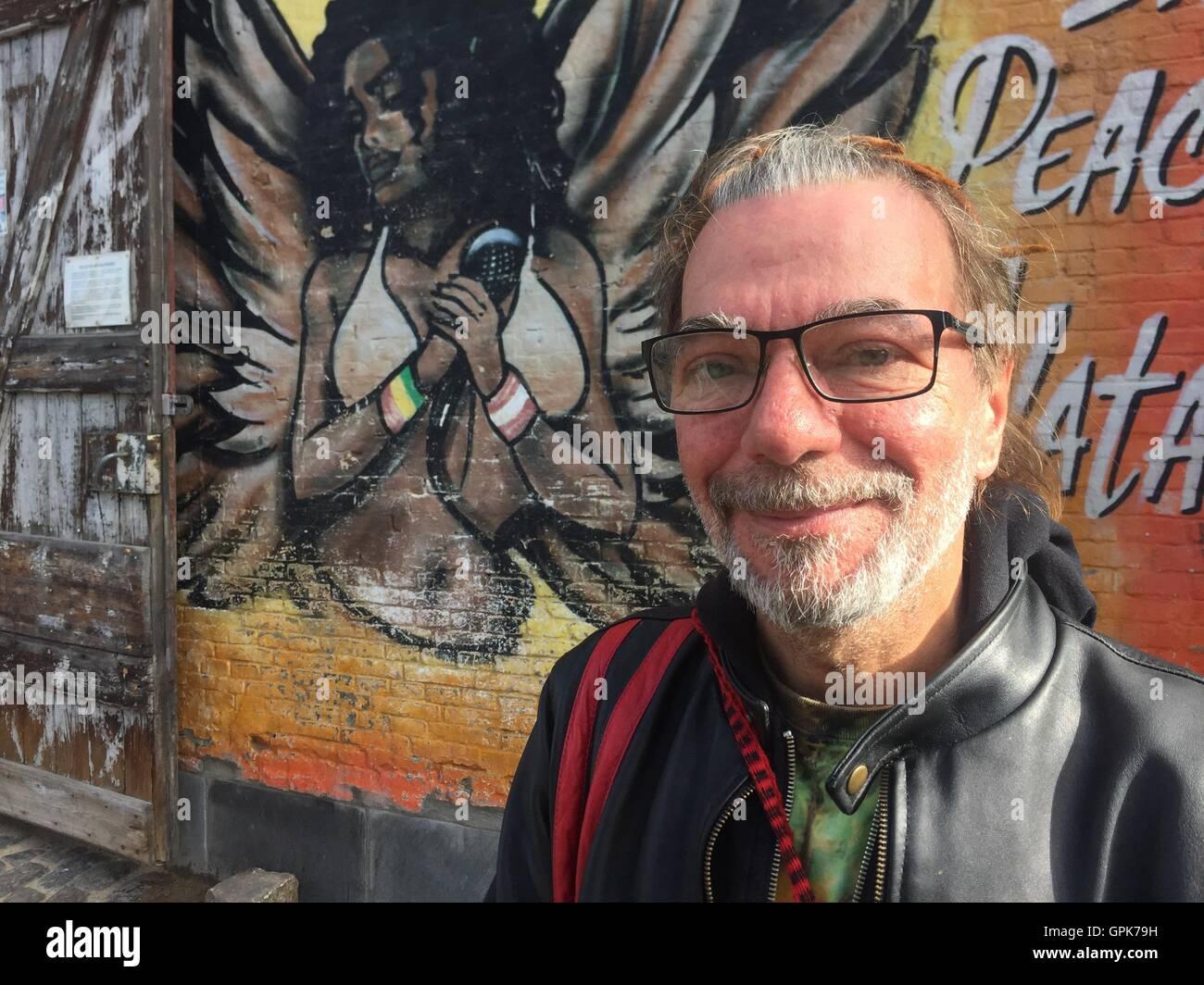 Copenhagen, Denmark. 2nd Sep, 2016. Resident Anders Jorgensen standing in the hippie settlement Christiania in Copenhagen, - Stock Image