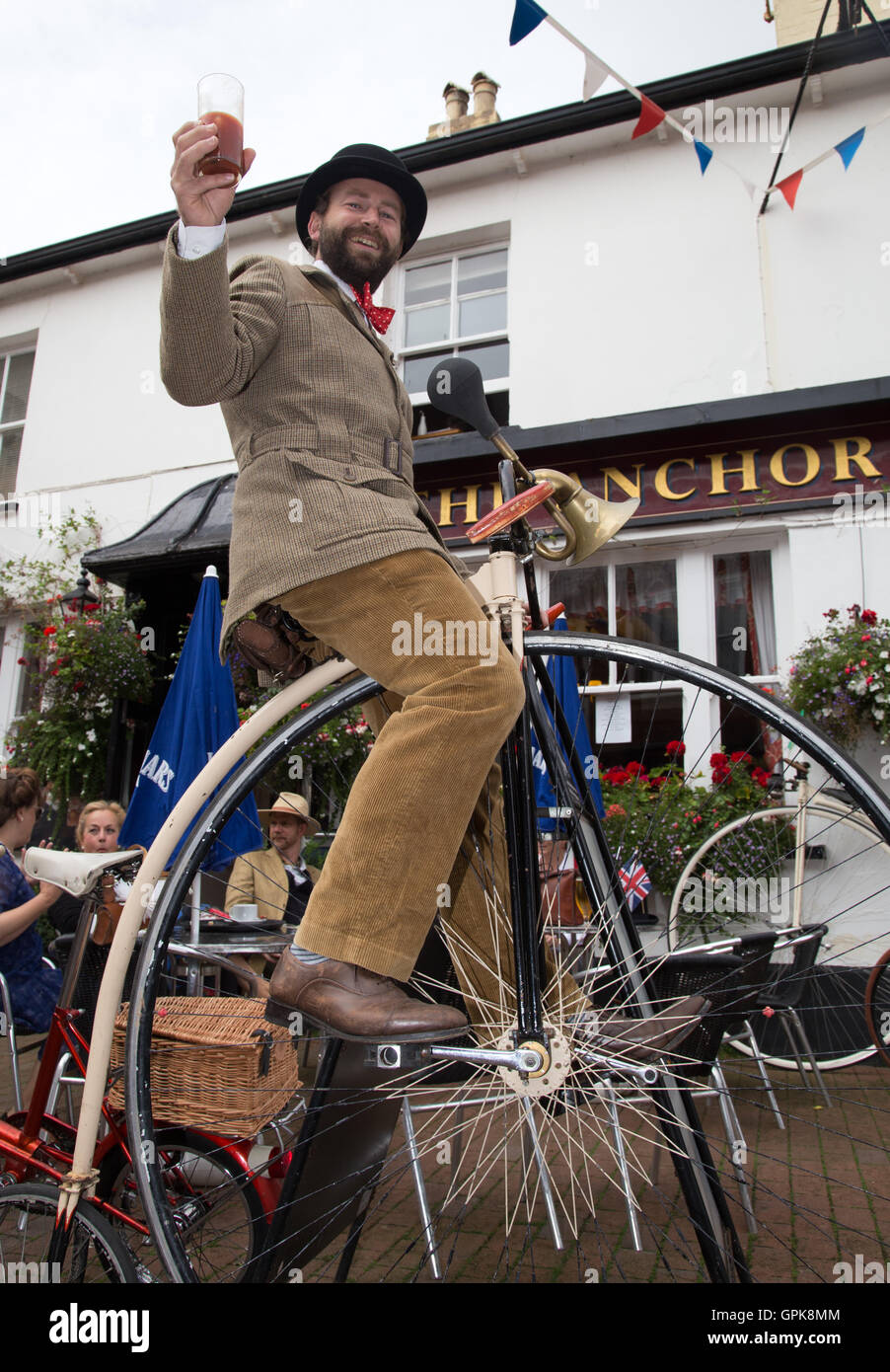 Sidmouth, Devon, 4th Sept 16. Sebastian Cope of vintage cyclists 'Velo Vintage', who were out and about - Stock Image