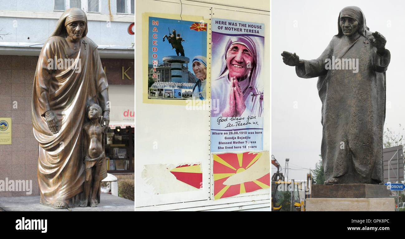 COMBO - The photo combo depicts a statue of Mother Theresa in the centre of Pristina (l, 13 February 2016), posters - Stock Image