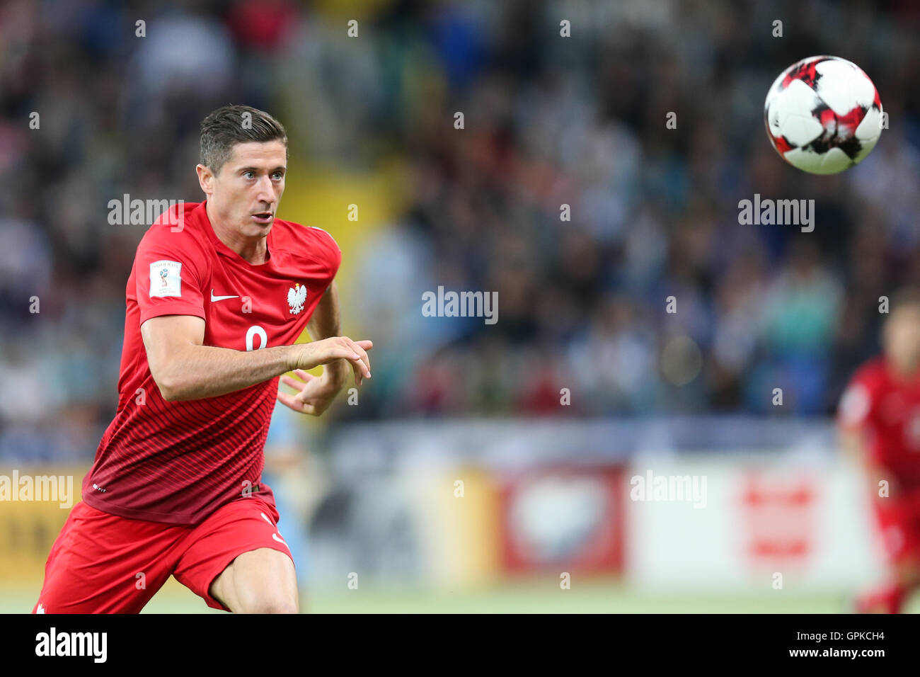 Astana, Kazakhstan. 4th September, 2016. Robert Lewandowski (POL). Kazakhstan versus Poland, FIFA World Cup 2018 qualifier. The game ended in a 2-2 draw Credit:  Action Plus Sports Images/Alamy Live News Stock Photo