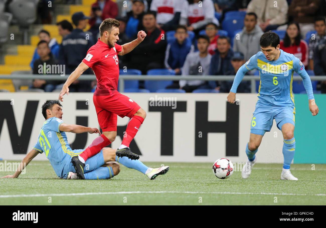 Astana, Kazakhstan. 4th September, 2016. Maciej Rybus (POL), Kazakhstan versus Poland, FIFA World Cup 2018 qualifier. The game ended in a 2-2 draw Credit:  Action Plus Sports Images/Alamy Live News Stock Photo