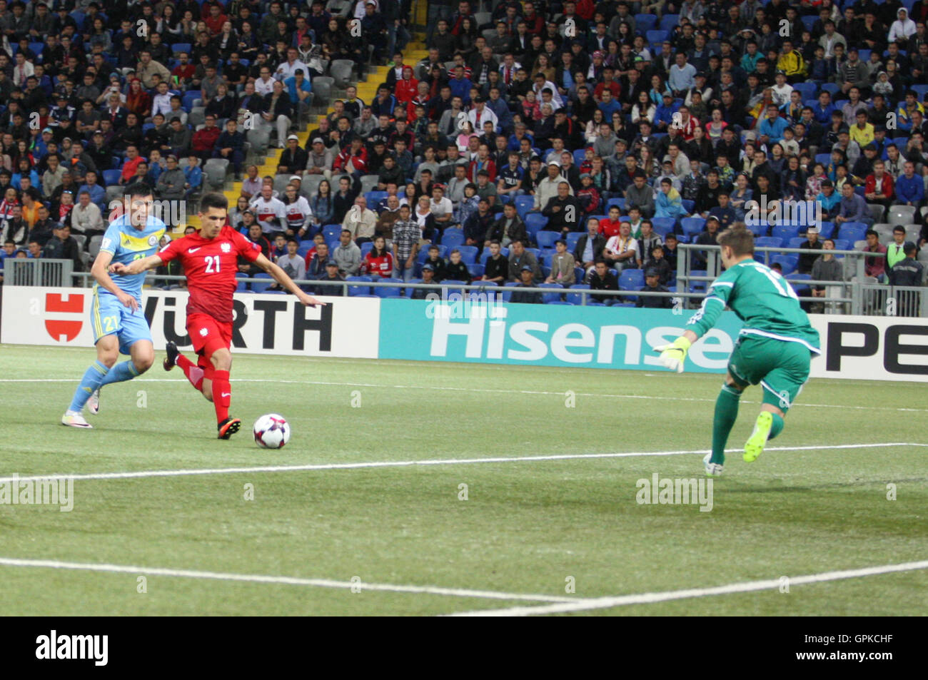 Astana, Kazakhstan. 4th September, 2016. Bartosz Kapustka (POL) scores for Poland. Kazakhstan versus Poland, FIFA World Cup 2018 qualifier. The game ended in a 2-2 draw Credit:  Action Plus Sports Images/Alamy Live News Stock Photo