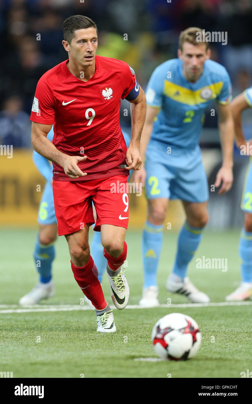 Astana, Kazakhstan. 4th September, 2016. Robert Lewandowski (POL), scores from the penalty spot. Kazakhstan versus Poland, FIFA World Cup 2018 qualifier. The game ended in a 2-2 draw Credit:  Action Plus Sports Images/Alamy Live News Stock Photo
