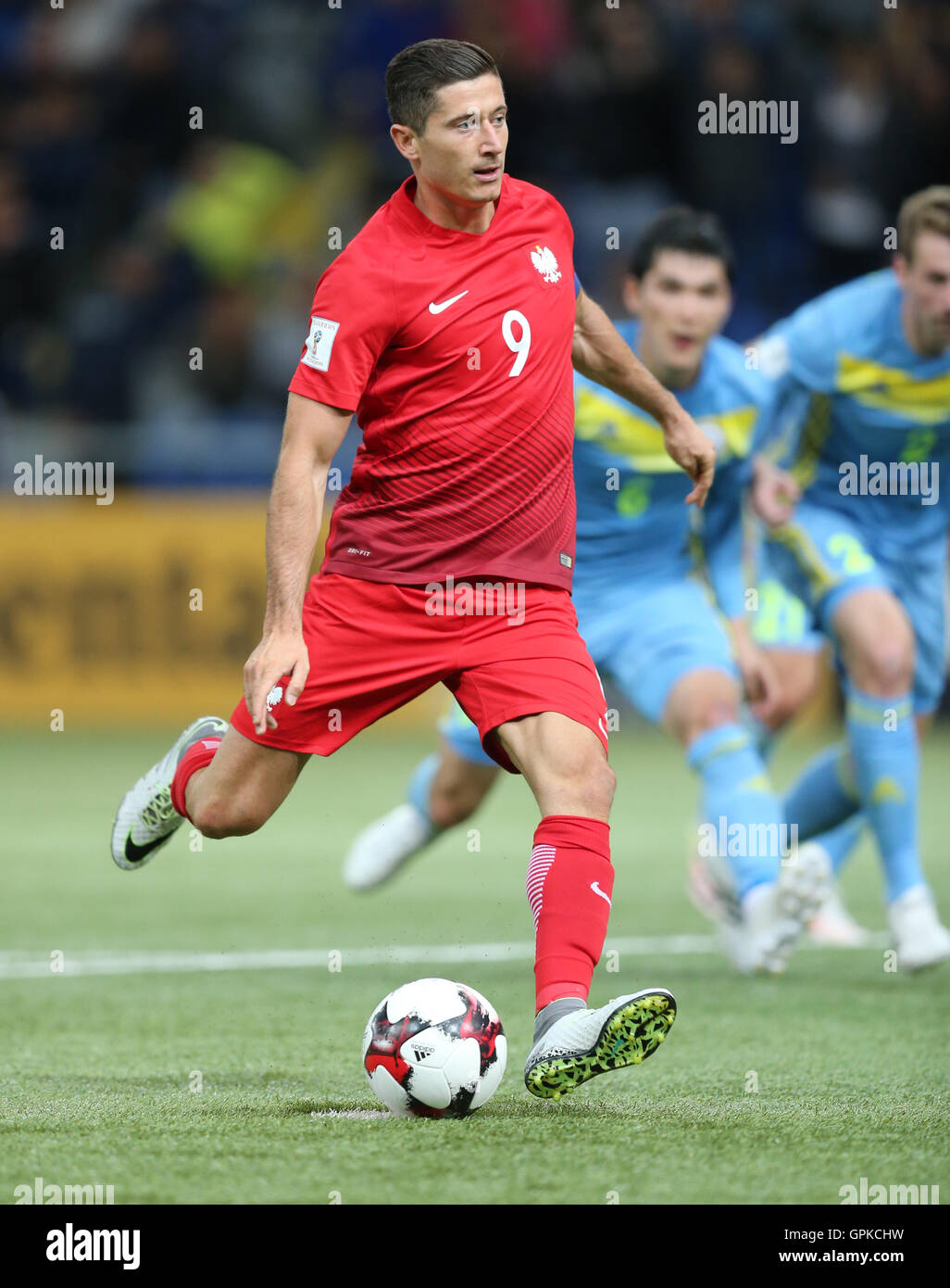 Astana, Kazakhstan. 4th September, 2016. Robert Lewandowski (POL), scores from the penalty spot for 0-2. Kazakhstan versus Poland, FIFA World Cup 2018 qualifier. The game ended in a 2-2 draw Credit:  Action Plus Sports Images/Alamy Live News Stock Photo