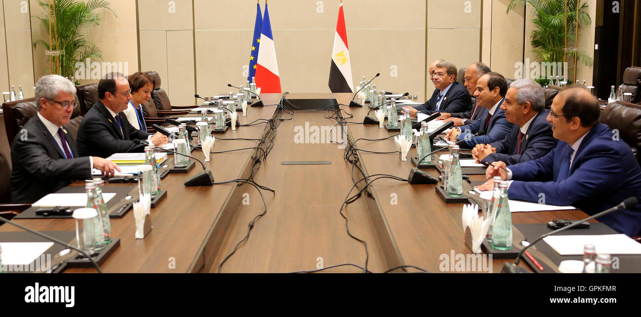 Hangzhou, Hangzhou, China. 5th Sep, 2016. French President Francois Hollandem meets with Egypt's President Abdel - Stock Image