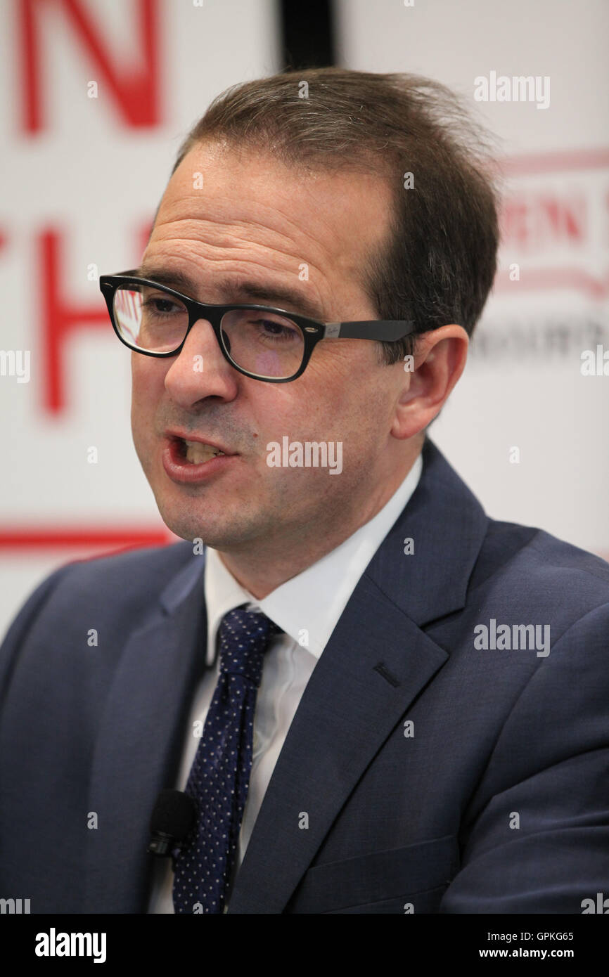 Westminster,  London, UK - 05 Sep 2016 - Labour leadership candidate Owen Smith warns of Britain facing a bleak Stock Photo