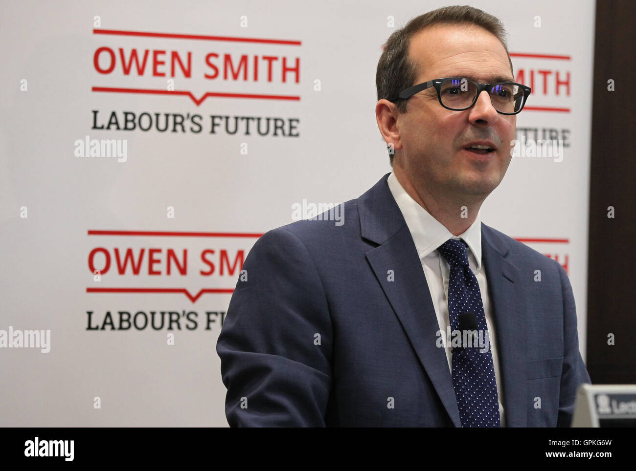 Westminster,  London, UK - 05 Sep 2016 - Labour leadership candidate Owen Smith warns of Britain facing a bleak - Stock Image