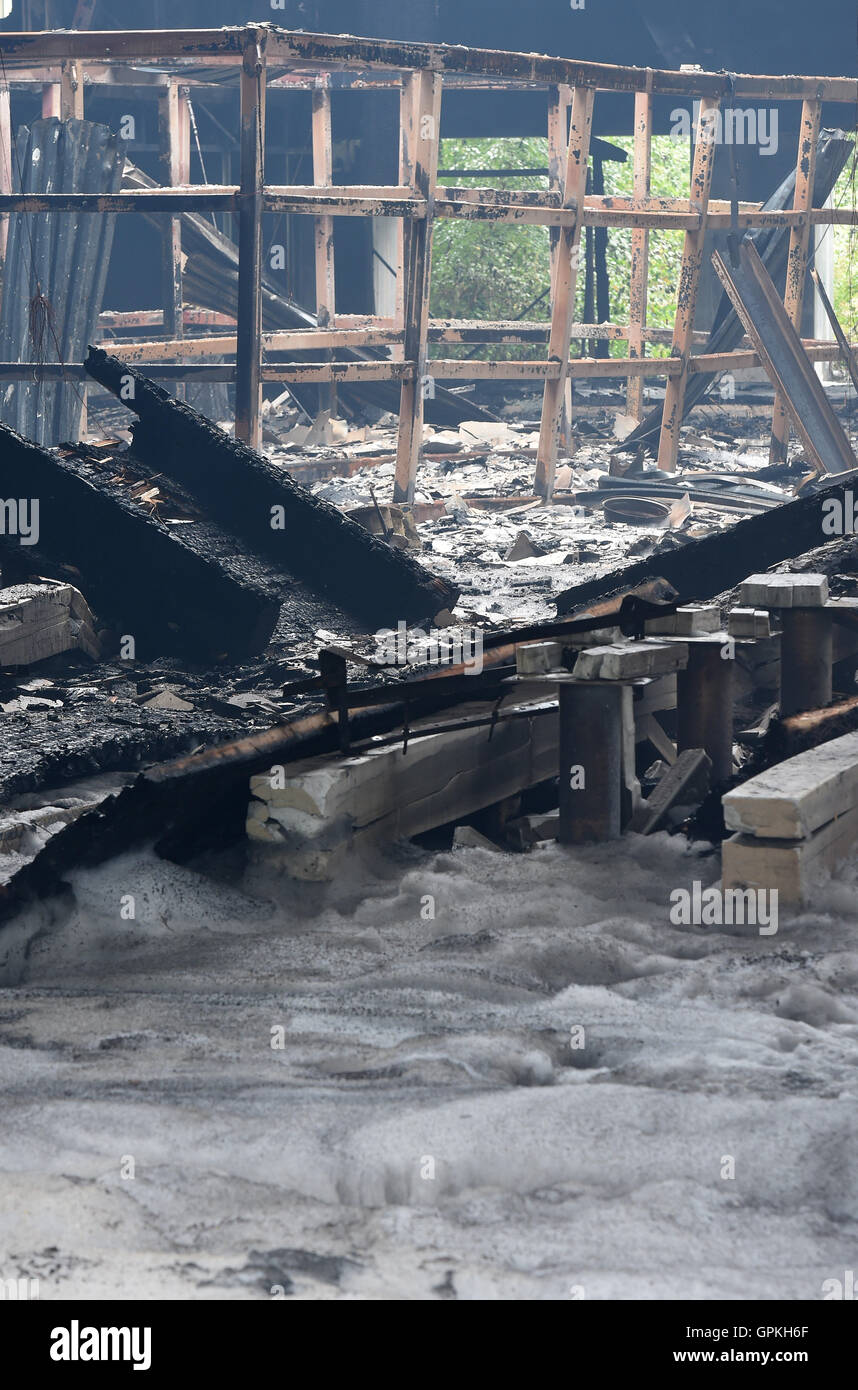 At the Expo grounds in the former Spanish pavilion, where a large-scale fire broke out the previous evening, the - Stock Image