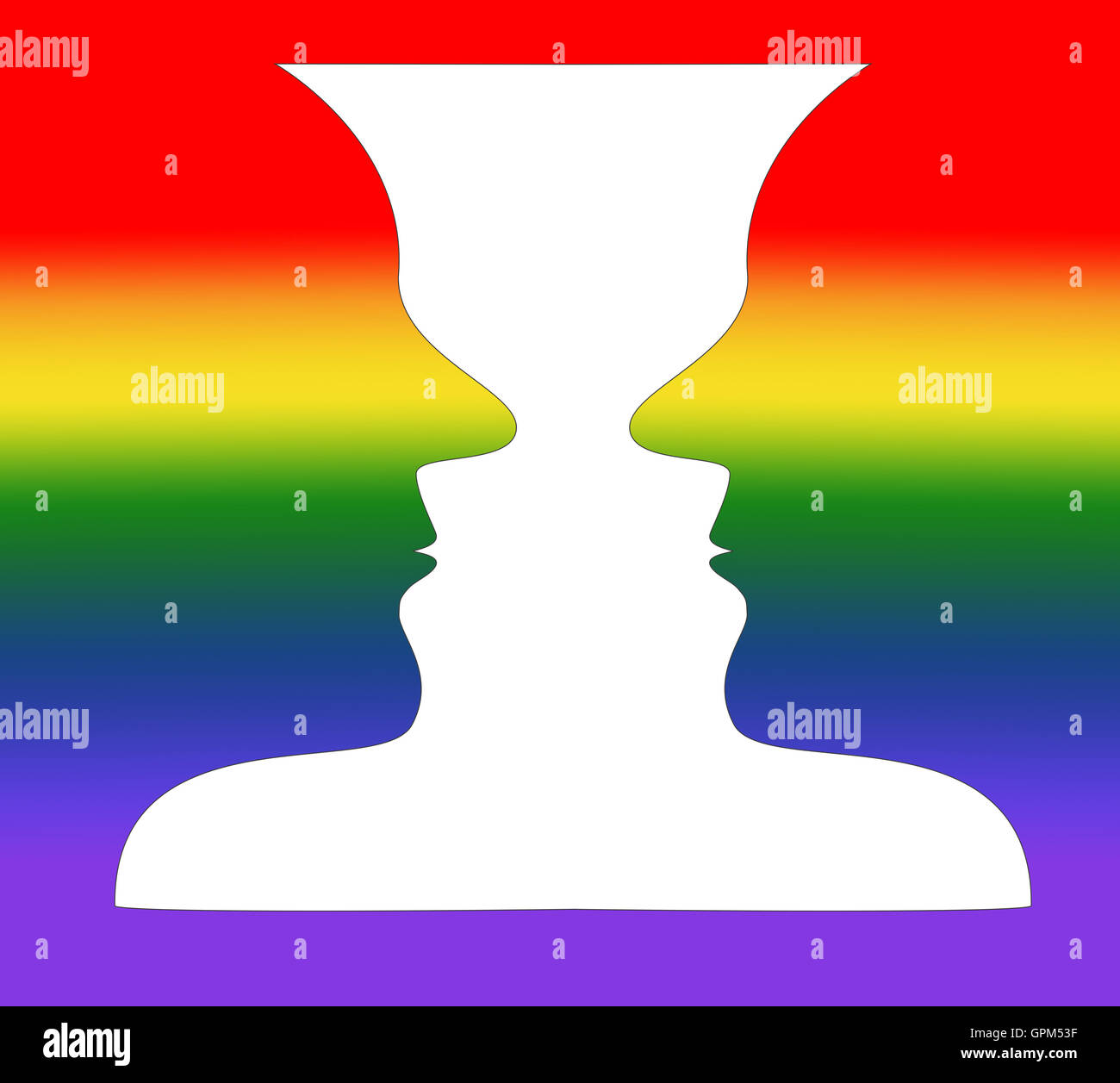 Optical illusion  A rainbow vase or  two people facing each other Stock Photo