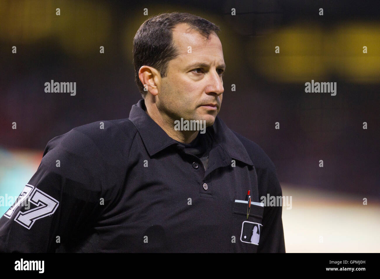 June 25, 2010; San Francisco, CA, USA;  Home plate umpire Jim Reynolds (77) during the fourth inning of the game - Stock Image