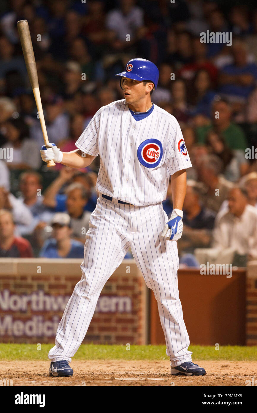 August 16, 2010; Chicago, IL, USA;  Chicago Cubs right fielder Tyler Colvin (21) at bat against the San Diego Padres - Stock Image