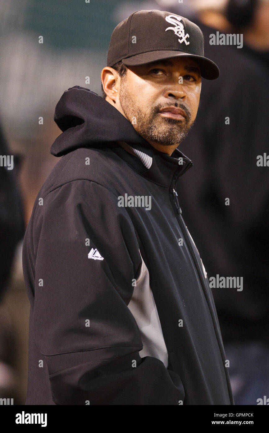 September 21, 2010; Oakland, CA, USA;  Chicago White Sox manager Ozzie Guillen (13) in the dugout during the fourth - Stock Image