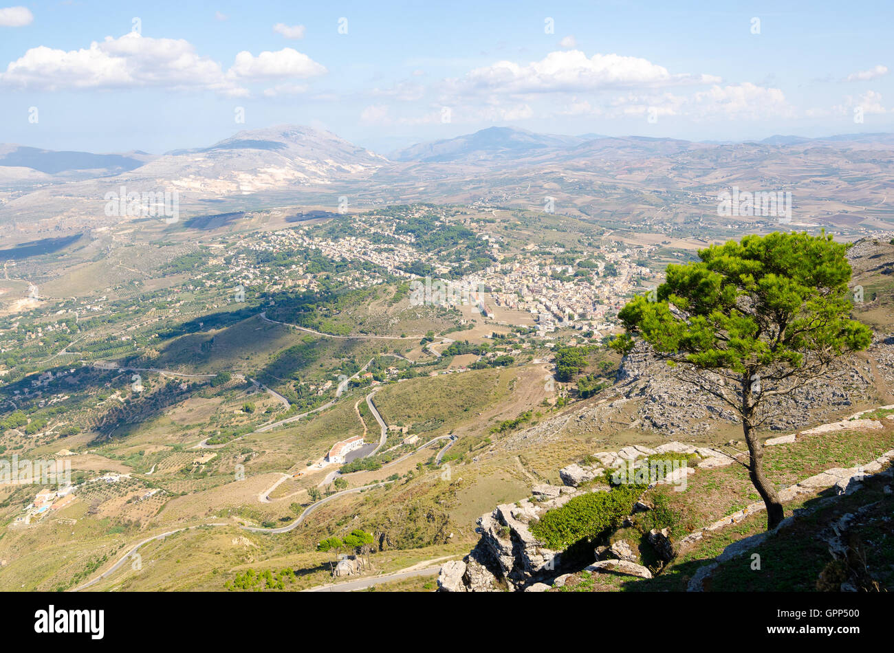 Aerial view of the Erice, Sicily, Italy. - Stock Image