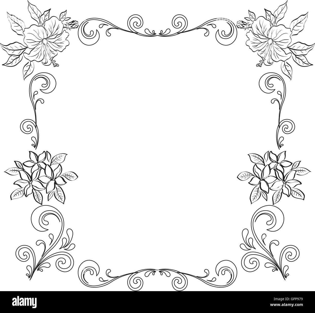 Abstract Floral Background Outline Stock Vector Art