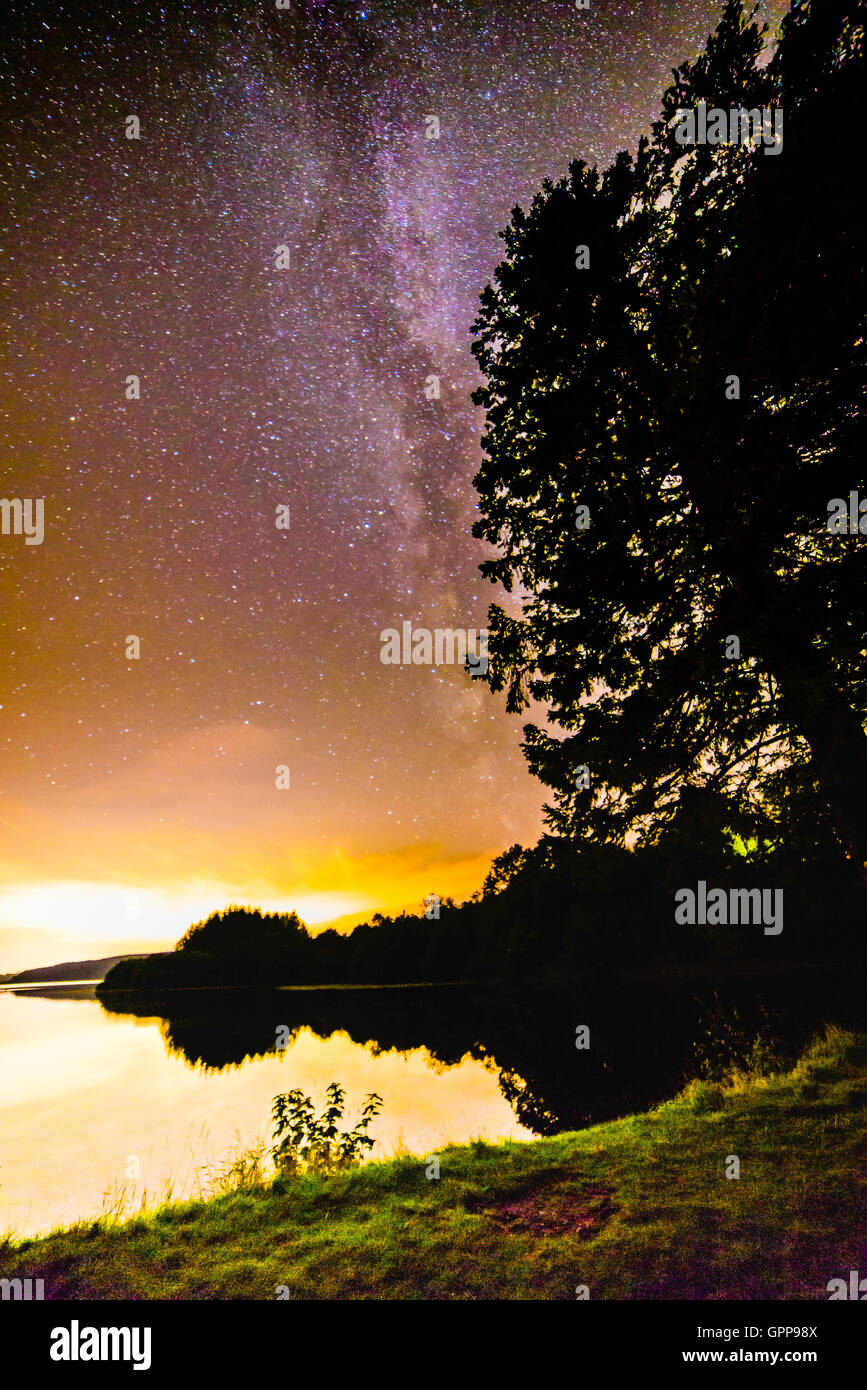 Milky way galactic center over South Wales UK in Plas Dolygaer Stock Photo