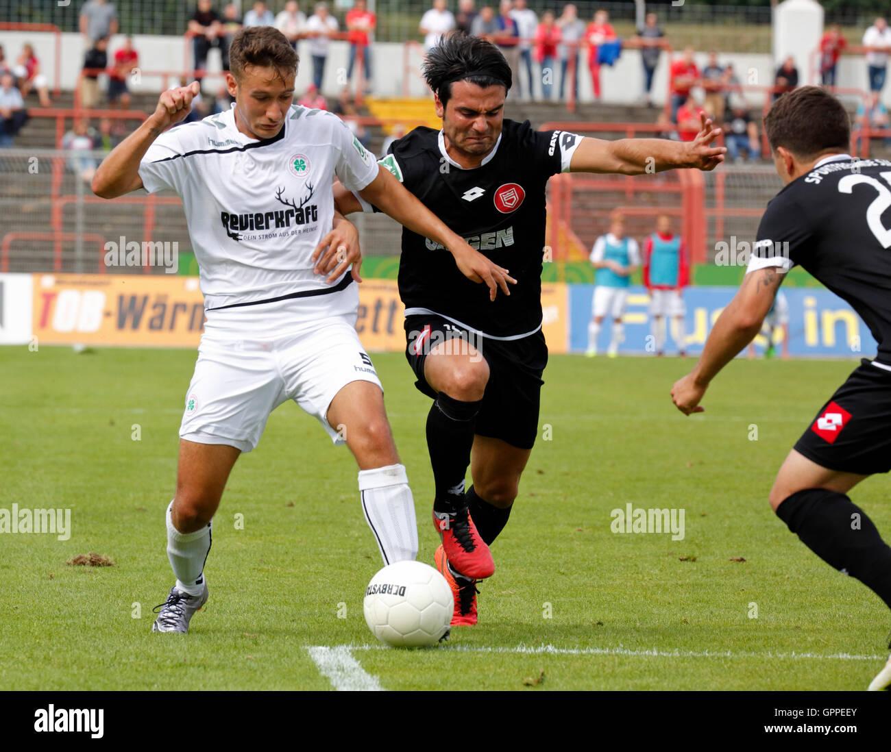 sports, football, Regional League West, 2016/2017, Rot Weiss Oberhausen versus Sportfreunde Siegen 7:1, Stadium - Stock Image