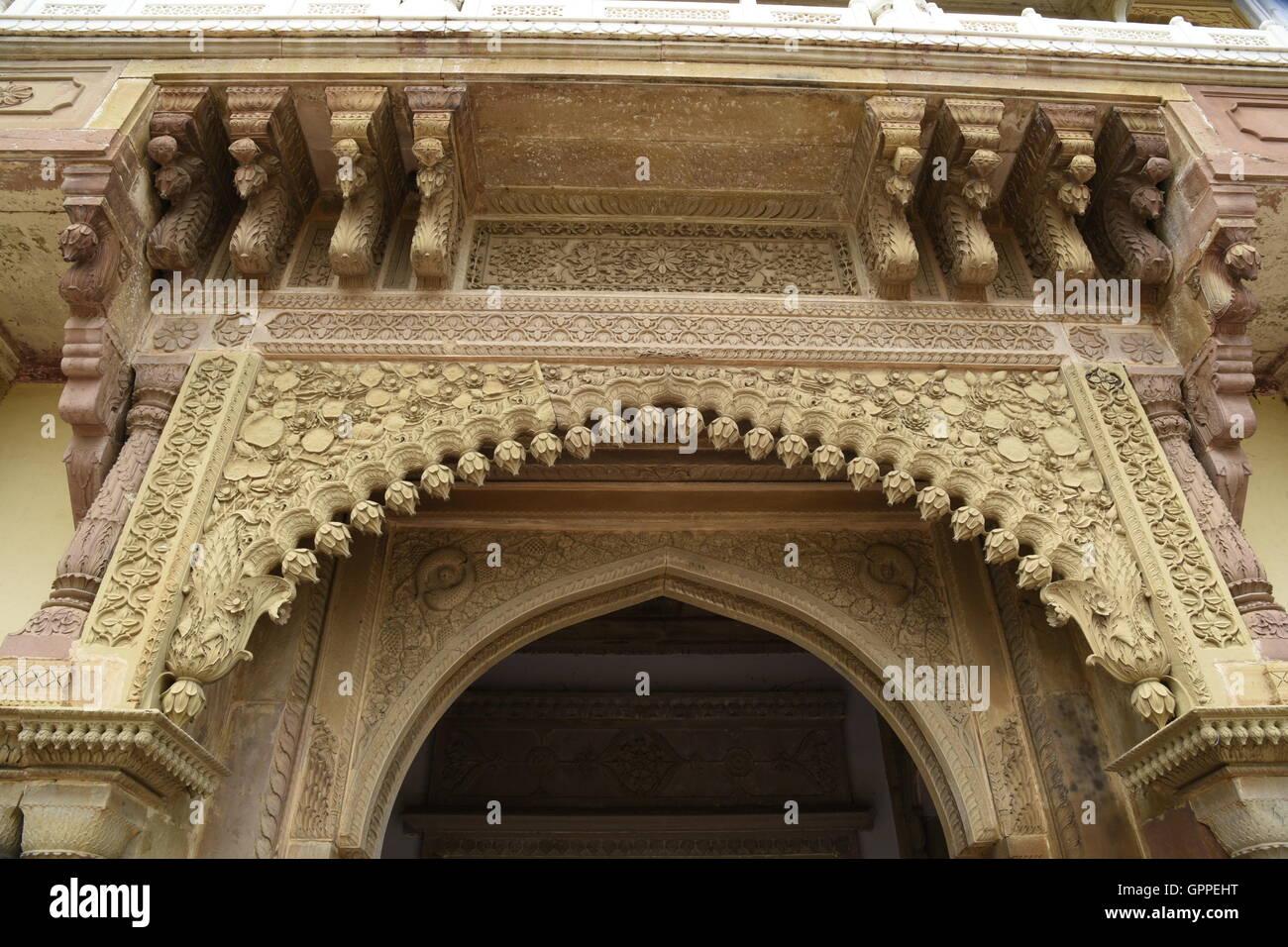 Beautiful Ramnagar fort  with colorful incredible detailed architecture in Varanasi or banaras near sarnath Uttar Pradesh India Stock Photo