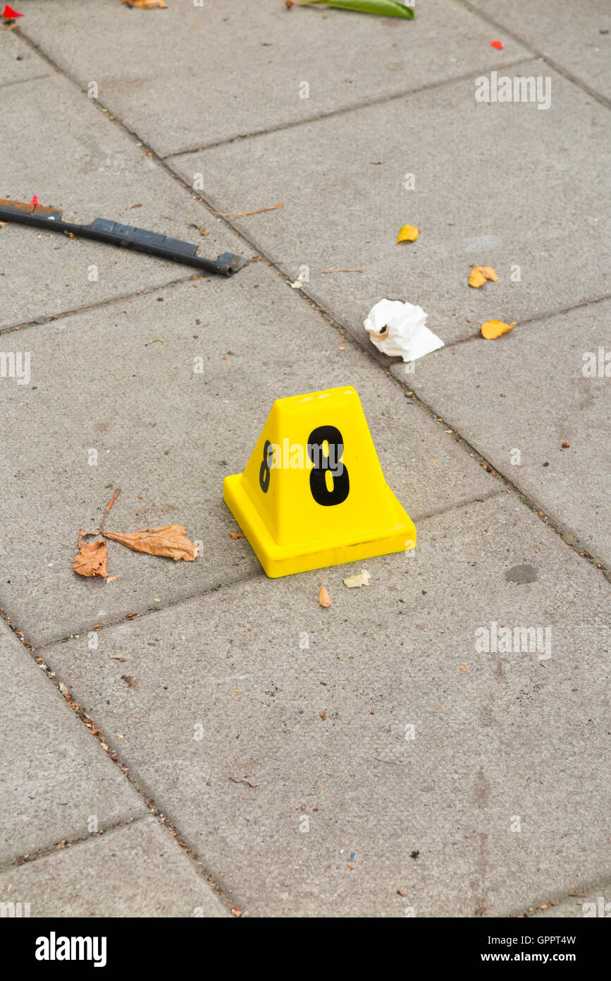 Evidence identification number marker / markers placed by scene of crime officer / officers at a  sc 1 st  Alamy & Evidence Numbers Stock Photos u0026 Evidence Numbers Stock Images - Alamy