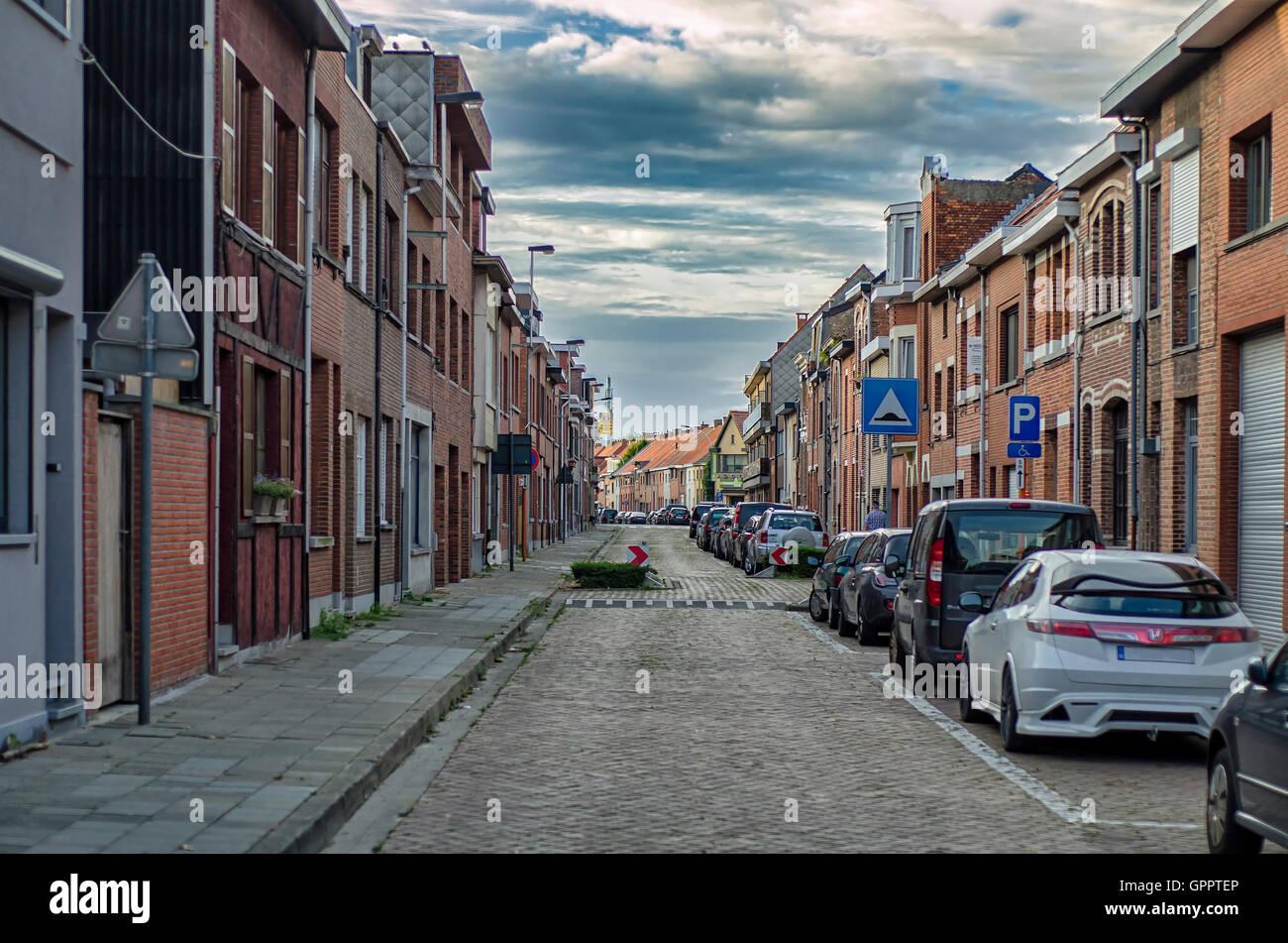 Antwerpen, BELGIUM 03, SEPTEMBER 2016 Quiet street Antwerp - Stock Image