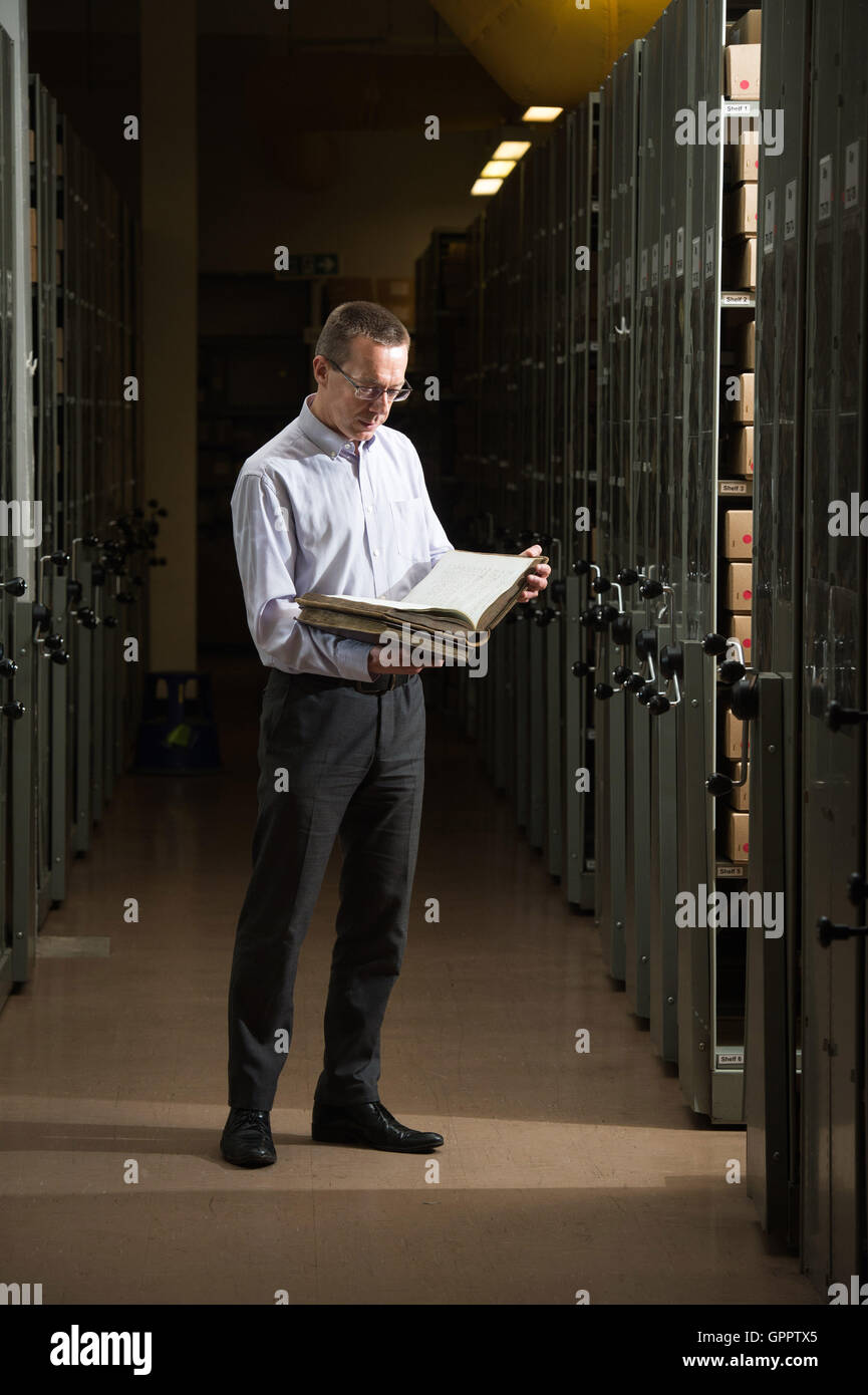 Archivist Peter Evans in the vaults at Sheffield Archives - Stock Image