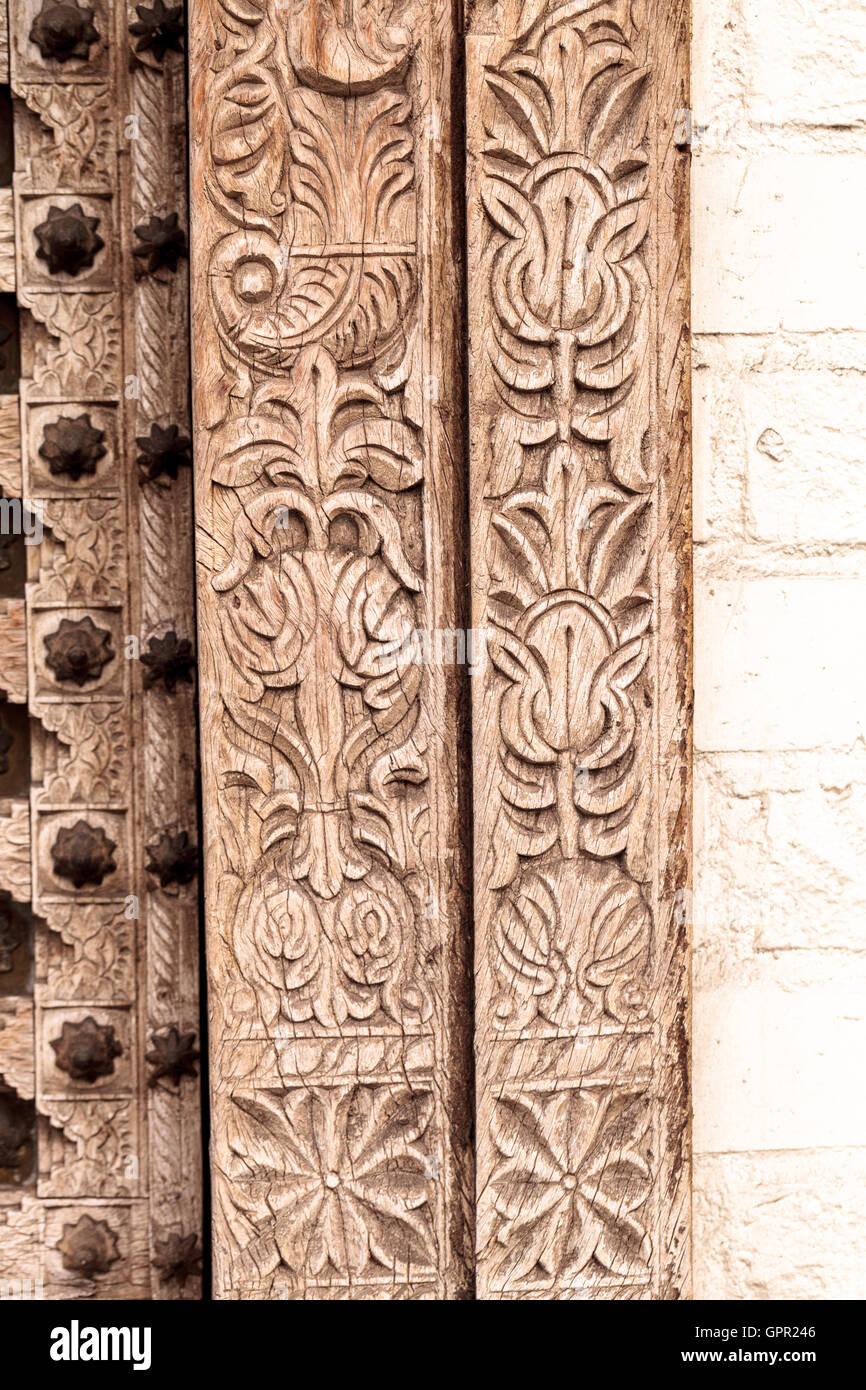 Moroccan Antique Wood Texture Door Carved Background