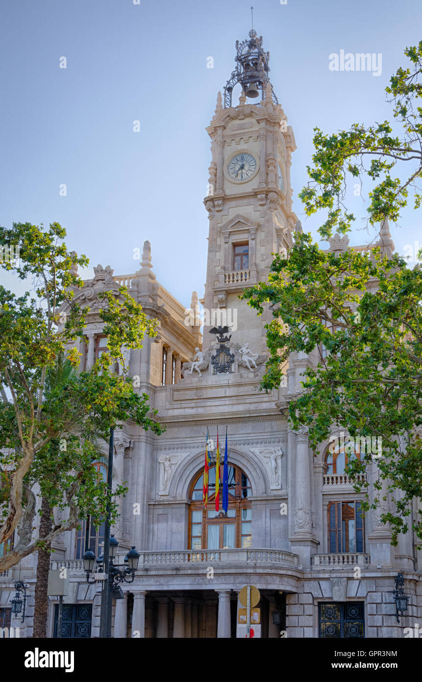 Facade of the town hall building in city center Valencia, Spain - Stock Image
