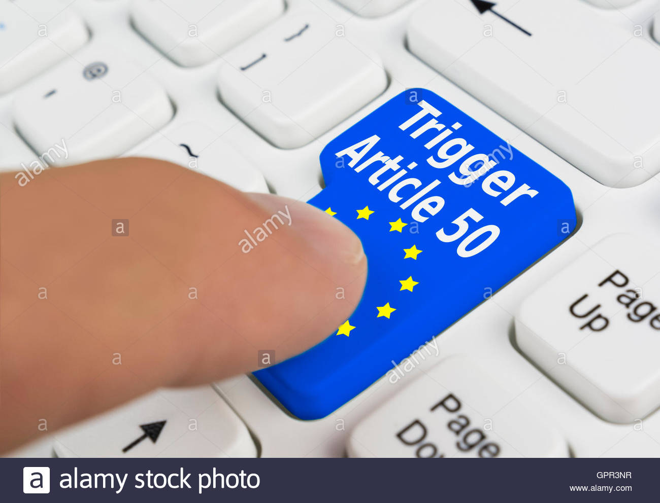 Brexit. Article 50 trigger button on a computer keyboard, to invoke article 50 of the European Union Lisbon Treaty. - Stock Image