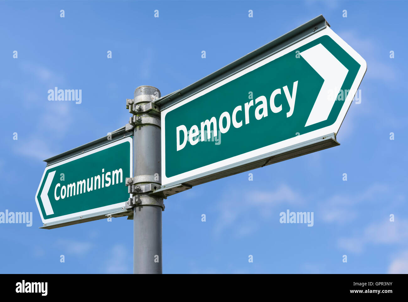Dictatorship or Democracy sign to show concept of government types. - Stock Image