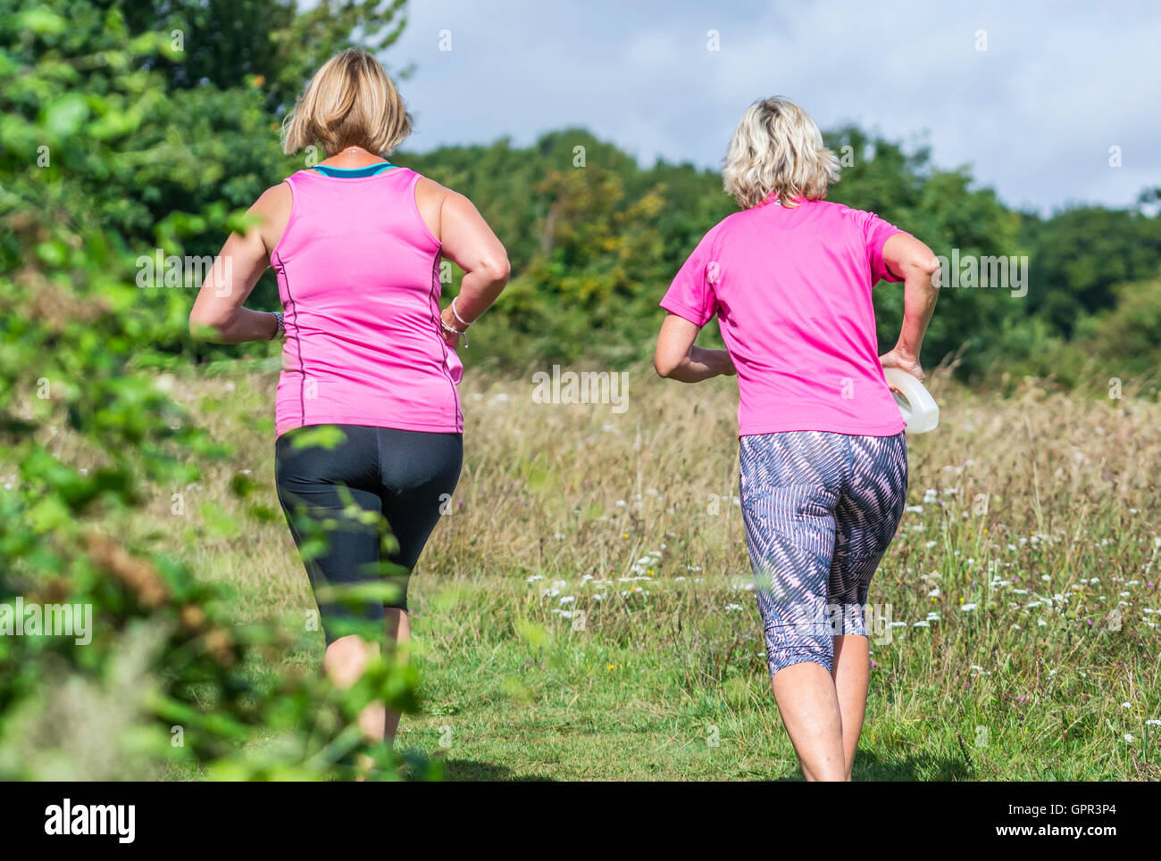 Healthy lifestyle. Pair of female joggers jogging through fields in the British countryside. - Stock Image