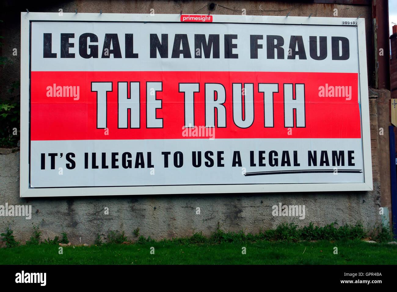 Legal Name Fraud billboard advertising in Paisley Scotland UK - Stock Image
