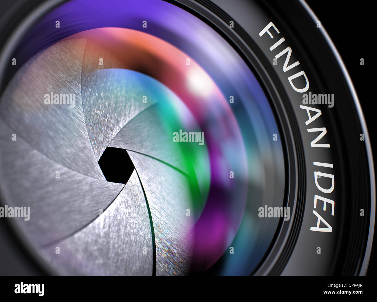 Find An Idea on Photo Lens. Closeup. 3D Render. - Stock Image