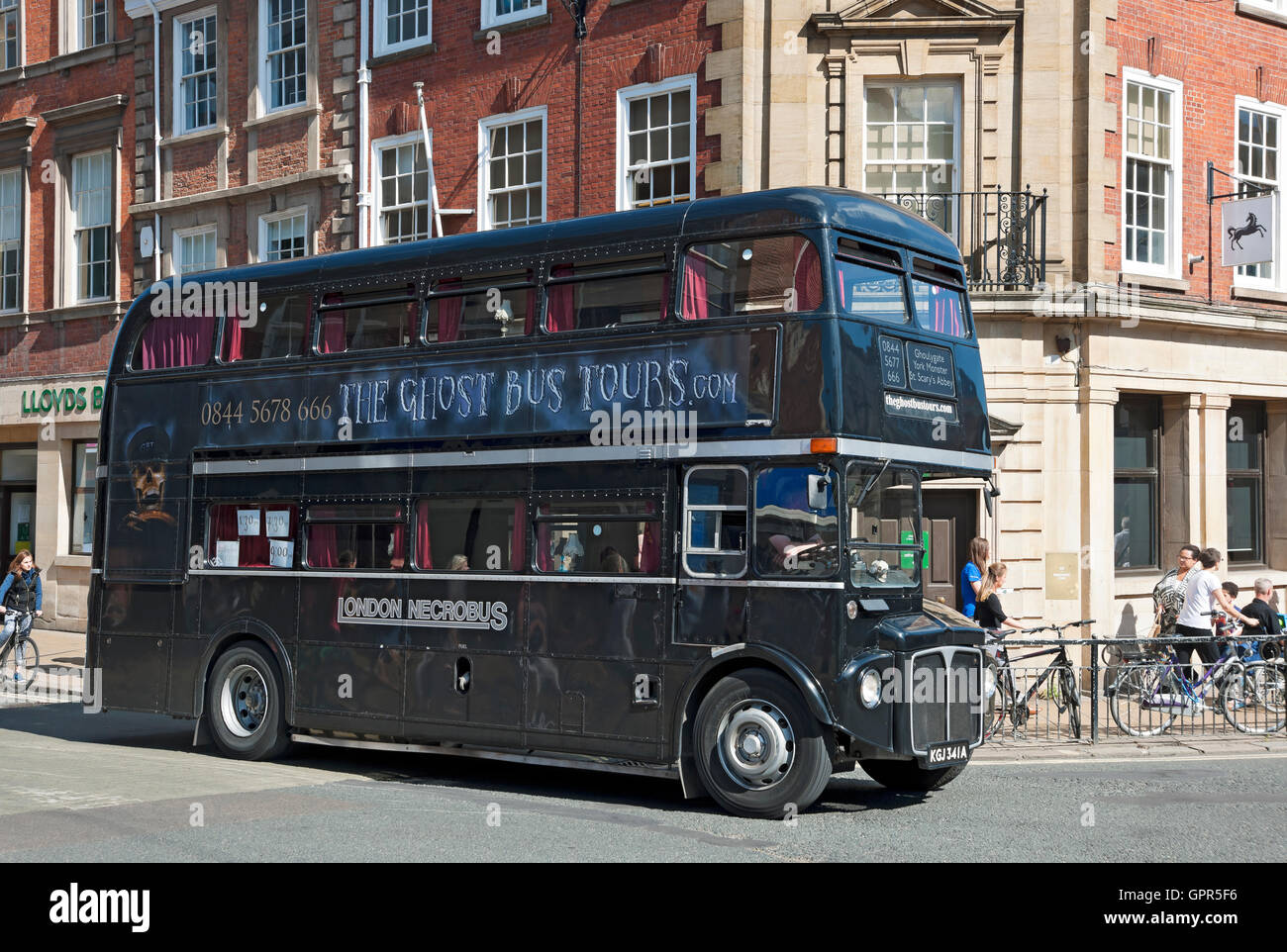 Ghost tour bus York North Yorkshire England UK United Kingdom GB Great Britain Stock Photo
