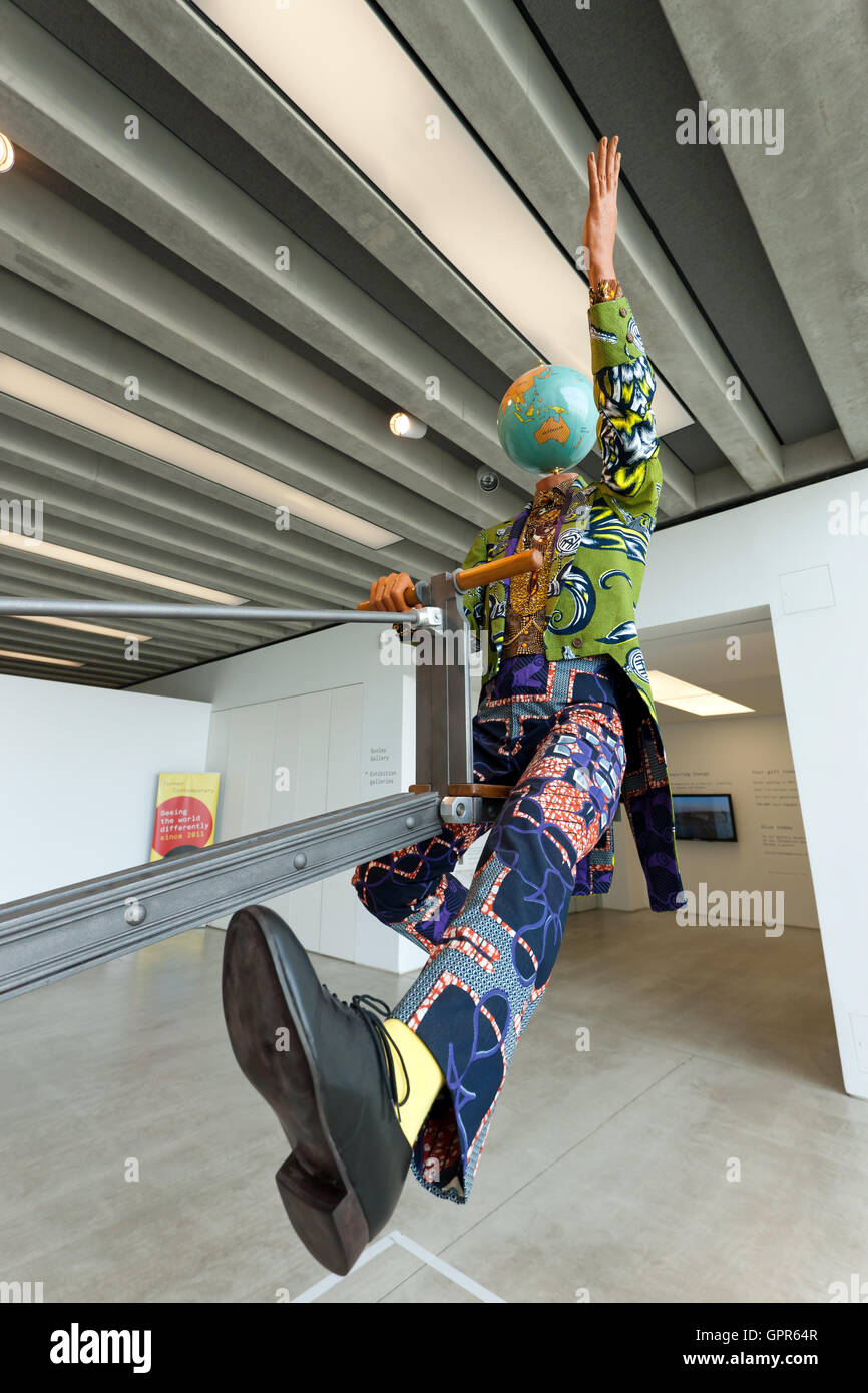 Close-up of End of Empire' a Kinetic Sculpture by Yinka Shonibare, in the Sunley Gallery of the Turner Contemporary, - Stock Image