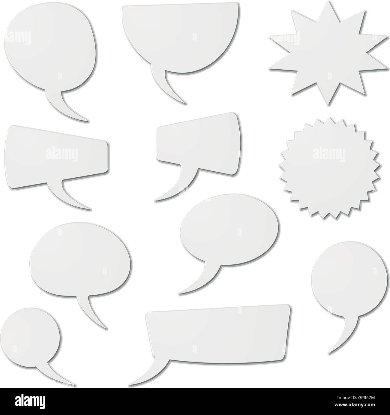 speech bubbles as white cardboard - Stock Image