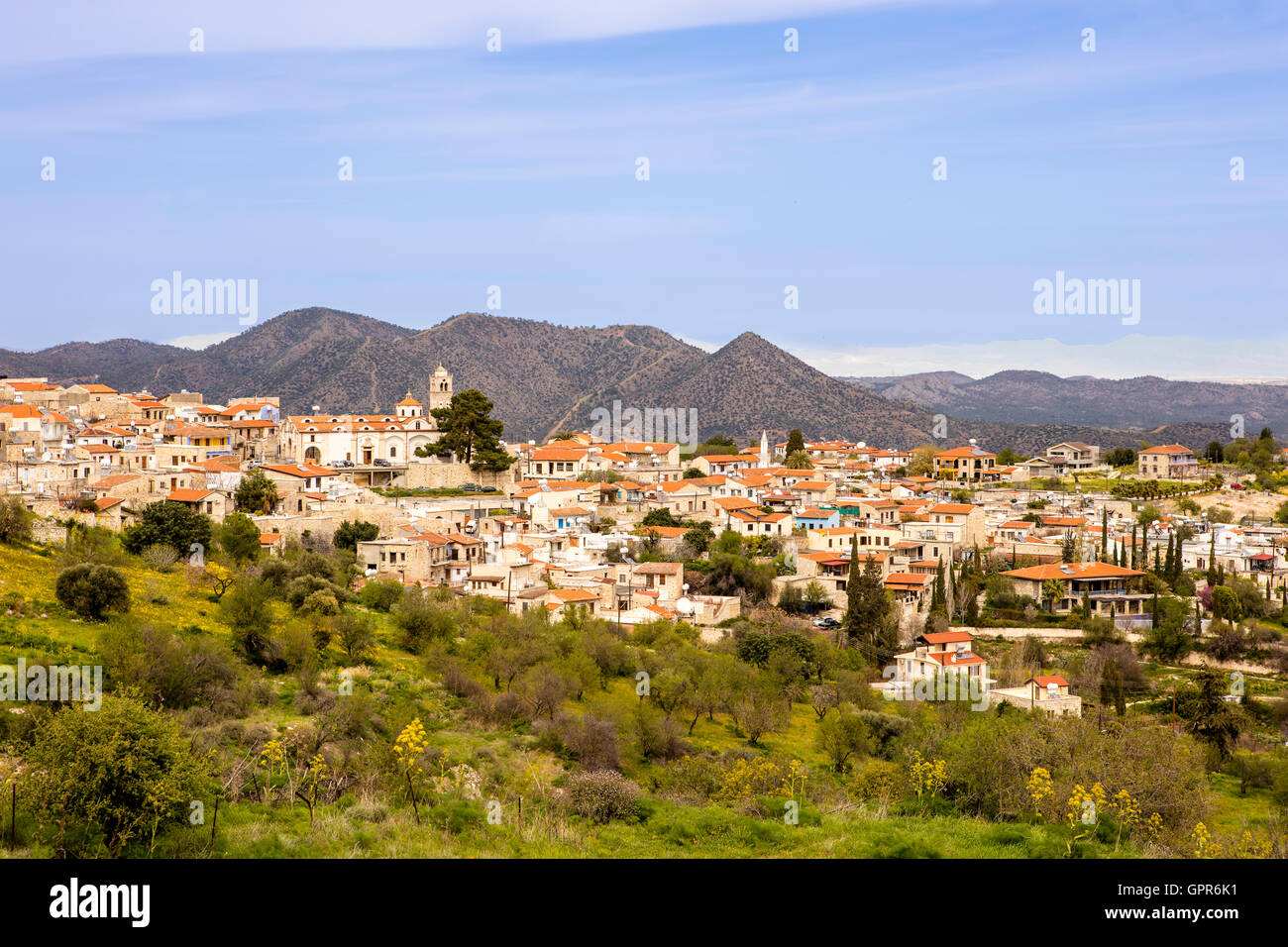 Typical Cyprus village in the Troodos Mountains. - Stock Image