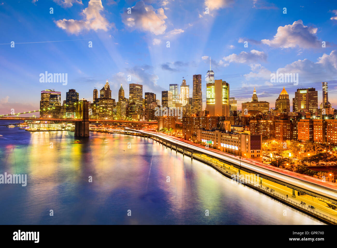 New York City skyline over the East River. - Stock Image