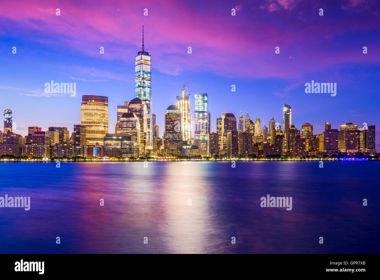 New York City Financial District skyline over the Hudson River. - Stock Image