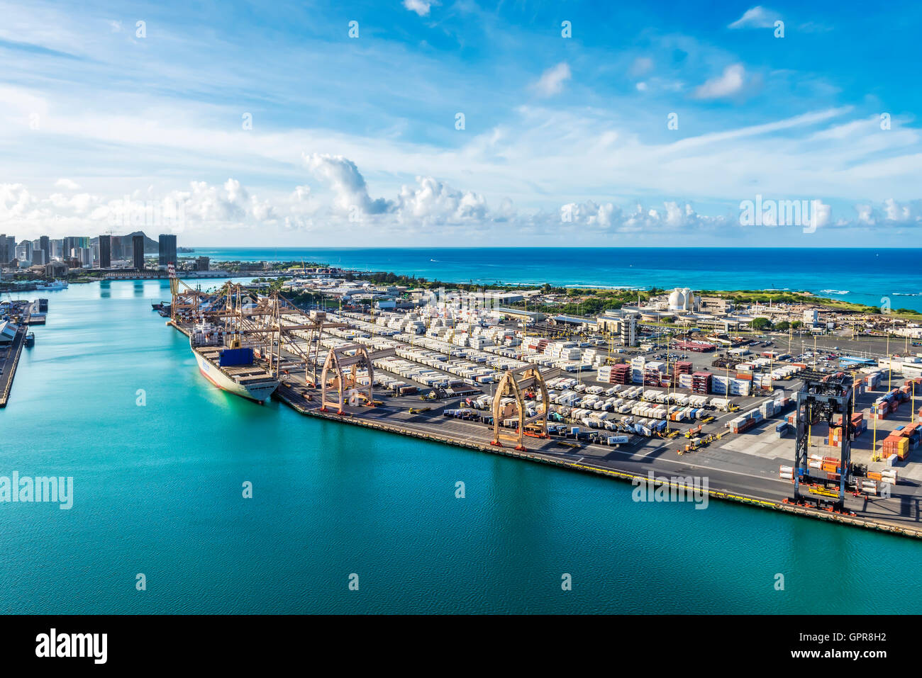 Port Of Honolulu >> Aerial View Of Container Area In Port Of Honolulu Oahu Hawaii Usa
