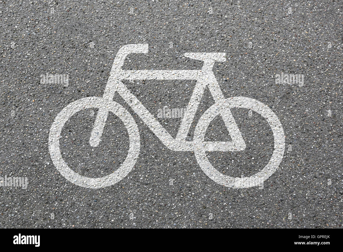 Bike lane path way cycle bicycle road traffic city transport - Stock Image