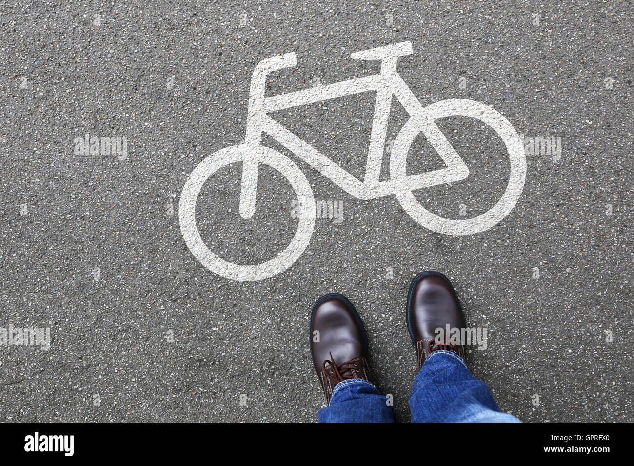 Man people bike lane path way bicycle traffic city transport - Stock Image