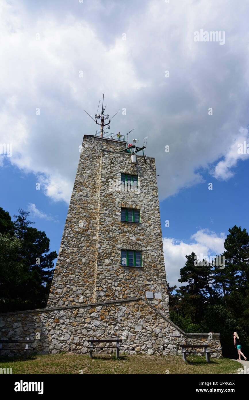 outlook tower at Karoly-magaslat (Karlshöhe) in Sopron (Ödenburg), Hungary - Stock Image