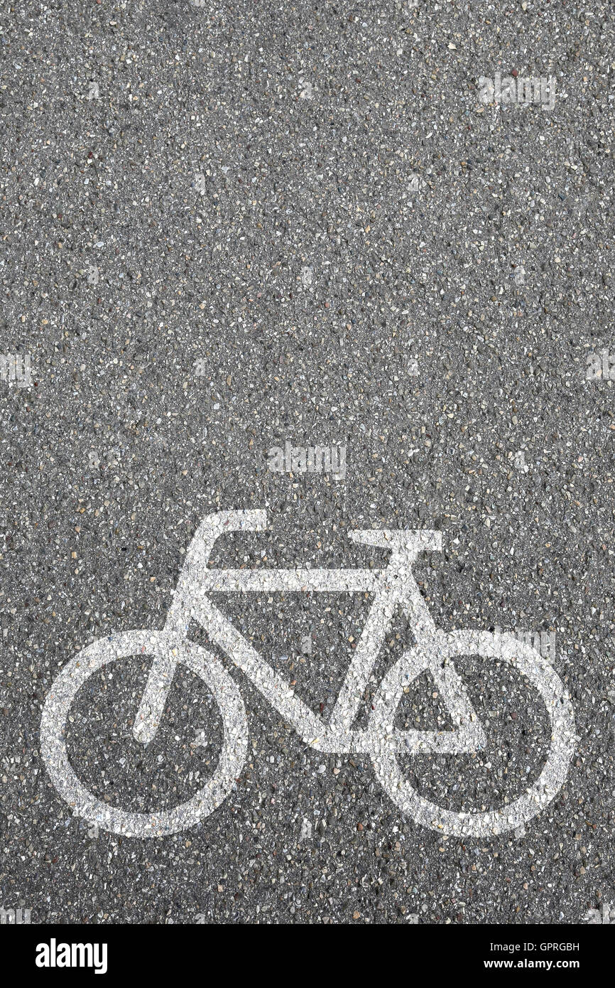 Bike lane path way cycle bicycle road traffic city copyspace copy space transport - Stock Image