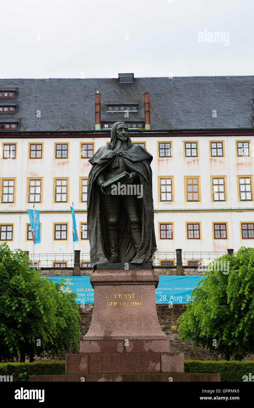 Statue of Ernest the Pious (Ernst der Fromme) in Gotha, Germany. The statue stands by Friedenstein Palace. Stock Photo